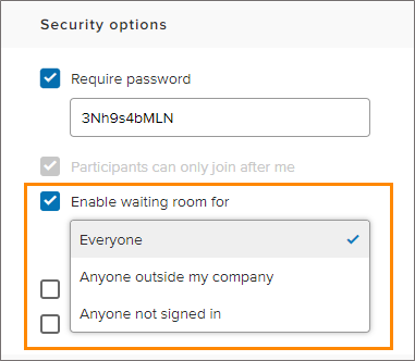 unify office by ringcentral security waiting room